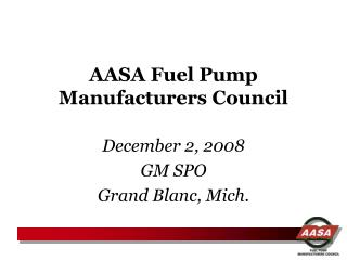 AASA Fuel Pump Manufacturers Council