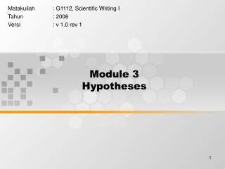 Module 3 Hypotheses
