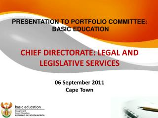 PRESENTATION TO PORTFOLIO COMMITTEE:  BASIC EDUCATION