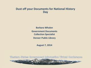 Dust off your Documents for National History Day