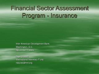 Financial Sector Assessment Program - Insurance