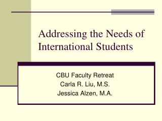 Addressing the Needs of International Students