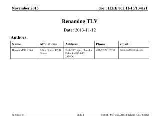 Renaming TLV