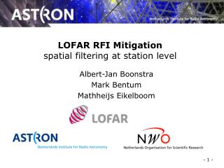 LOFAR RFI Mitigation spatial filtering at station level