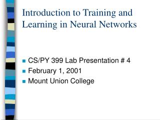 Introduction to Training and Learning in Neural Networks
