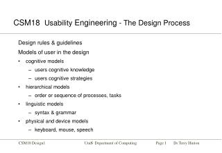 CSM18   Usability  Engineering  - The Design Process