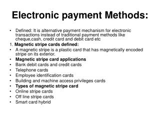 Electronic payment Methods: