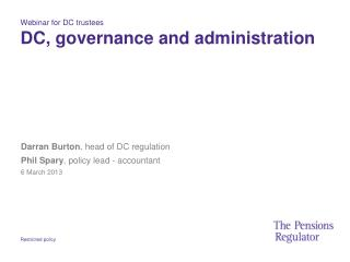 Webinar for DC trustees DC, governance and administration