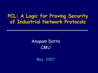PCL: A Logic for Proving Security of Industrial Network Protocols