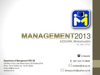 MANAGEMENT 2013