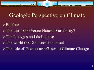 Geologic Perspective on Climate