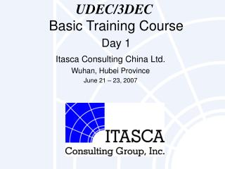 UDEC/3DEC Basic Training Course Day 1