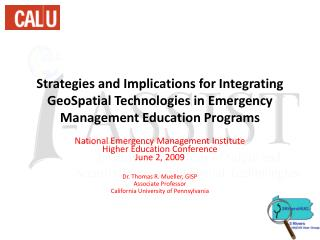 National Emergency Management Institute  Higher Education Conference June 2, 2009