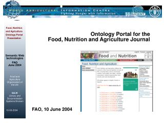 Ontology Portal for the  Food, Nutrition and Agriculture Journal