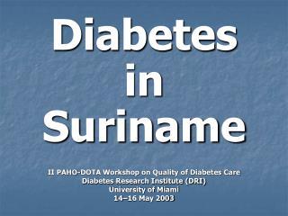 Diabetes in Suriname