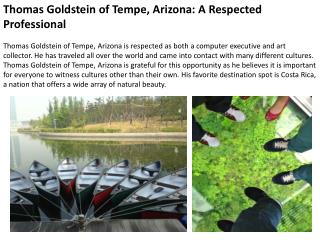 Thomas Goldstein of Tempe, Arizona: A Respected Professional