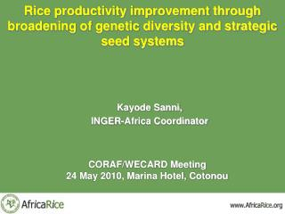 Rice productivity improvement through broadening of genetic diversity and strategic seed systems
