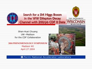 Search for a SM Higgs Boson in the WW Dilepton Decay Channel with 200/pb CDF II Data