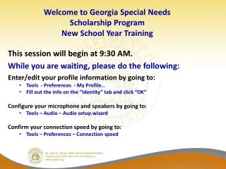 Welcome to Georgia Special Needs Scholarship Program  New School Year Training