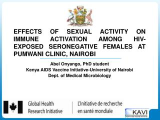 Abel Onyango, PhD student Kenya AIDS Vaccine Initiative-University of Nairobi