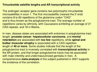 Trinucleotide satellite lengths and AR transcriptional activity
