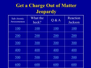 Get a Charge Out of Matter Jeopardy