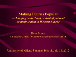 Changes in the political context