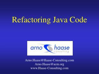 Refactoring Java Code