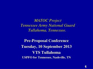 MATOC Project  Tennessee Army National Guard   Tullahoma, Tennessee.