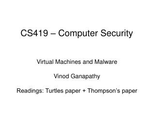 CS419 – Computer Security