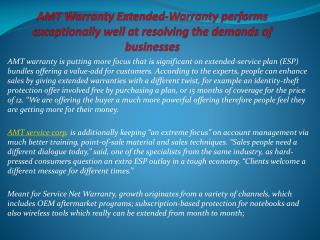 AMT Warranty Extended-Warranty performs exceptionally well a