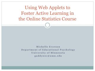 Using Web Applets to  Foster Active Learning in the Online Statistics Course