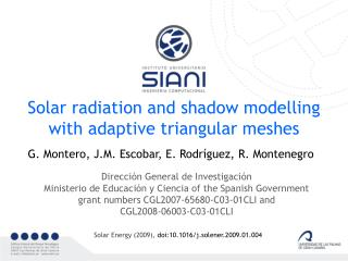 Solar radiation and shadow modelling with adaptive triangular meshes
