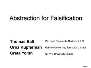 Abstraction for Falsification
