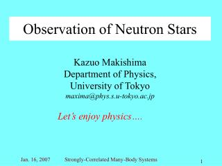 Observation of Neutron Stars