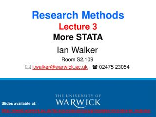 Research Methods Lecture 3 More STATA