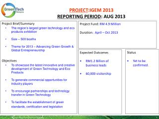 PROJECT :IGEM 2013 REPORTING PERIOD :  AUG 2013