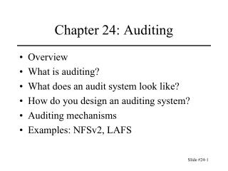 Chapter 24: Auditing