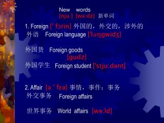 New    words [nju:] [wə:dz] 新单词