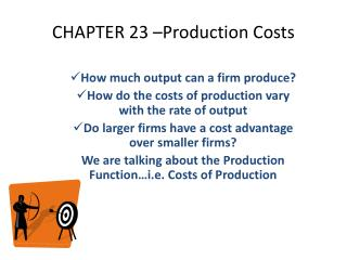 CHAPTER 23 –Production Costs