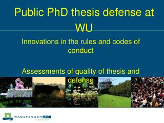 Public PhD thesis defense at WU