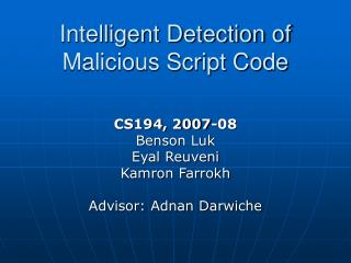 Intelligent Detection of Malicious Script Code