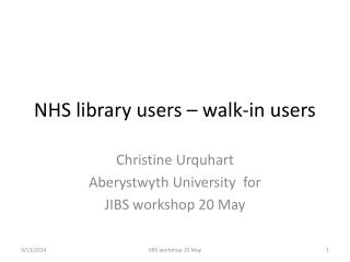 NHS library users – walk-in users