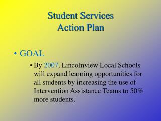 Student Services Action Plan