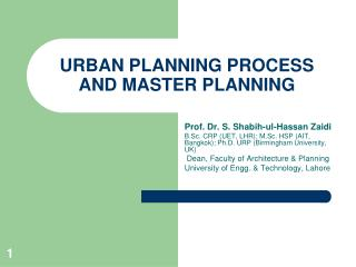 URBAN PLANNING PROCESS AND MASTER PLANNING
