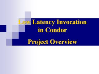 Low Latency Invocation in Condor  Project Overview
