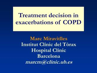 Treatment decision in exacerbations of COPD