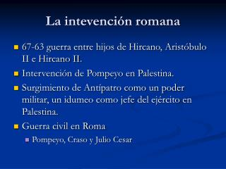 La intevención romana