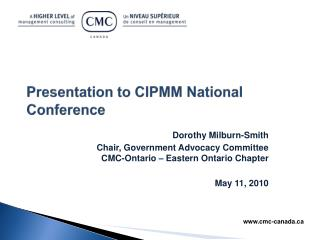 Presentation to CIPMM National Conference