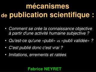 mécanismes  de  publication scientifique :
